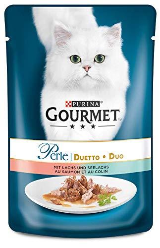 PURINA GOURMET Perle Duetto Katzenfutter nass, mit Lachs und Seelachs, 24er Pack (24 x 85g)