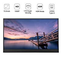 Portable Display Screen,15.6in HD 1080P 800:1 LED IPS Monitor with Bracket, HDMI Monitor for Games,Office,Design,Support PS3/XBOX/PS4,Ergonomic Display Screen