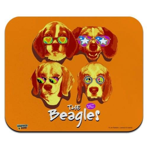 Mausmatte, The Beagles Dog Band Sonnenbrille Retro Low Profile Dünne Mauspad Mousepad, Gaming Mouse Pad
