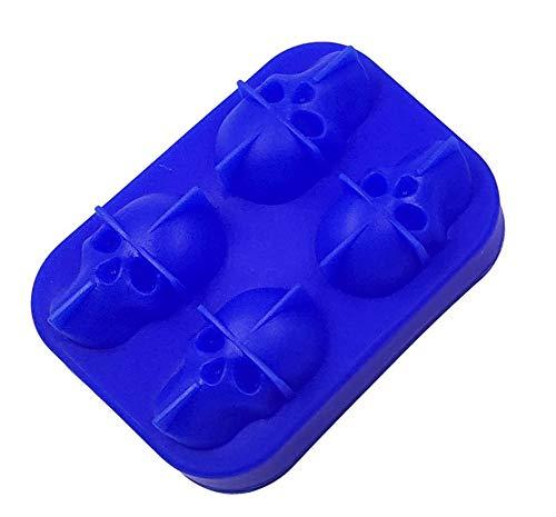 Bandeja 3D Cráneo Del Cubo De Hielo Con Tapa, De Silicona Cubo De Hielo Moldes Cafetera, Congelador Bandeja De Whisky, Whisky, Cocktail Glasses (2 Paquetes),Azul,4 packs