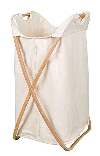 BirdRock Home - Cesto portabiancheria pieghevole a forma di farfalla, in bambù naturale, con fodera in tela di cotone lavabile in lavatrice