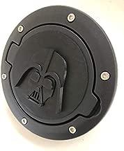LicensePlateFreak Darth Vader Mask in 3D - Black w Black- Jeep Wrangler JK/JKU Flag Gas Cap Cover - Light Saber Dark Side Trooper
