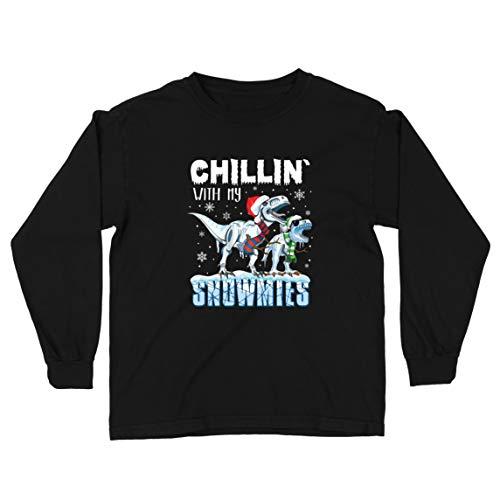 lepni.me Kinder-T-Shirt mit Langen Ärmeln Chillin mit Meinen Schneemühlen Weihnachten T Rex Dinosaurier (12-13 Years Schwarz Mehrfarben)