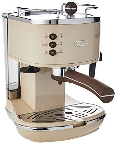 De Longhi Icona Vintage ECOV 311.BG Macchina da Caffè Espresso Manuale e Cappuccino, Caffè in Polvere o in Cialde E.S.E., 1100 W, Beige