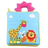SANDIN bebés ni?os y ni?as con sonidos arrugados Cloth Book Baby Gift Touch and Feel Fun Interactive Soft Book para bebés lindo Baby Shower Box Premium Baby Book juguete de desarrollo Giraffe 19*19cm