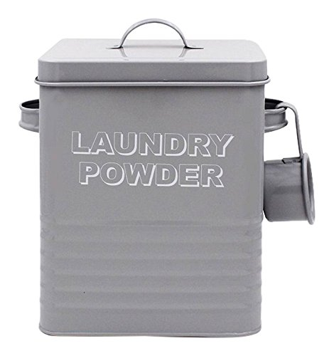 Lesser & Pavey New Sweet Home Laundry Powder Dose mit Schaufel, Metall, grau, 18 x 15 x 25 cm