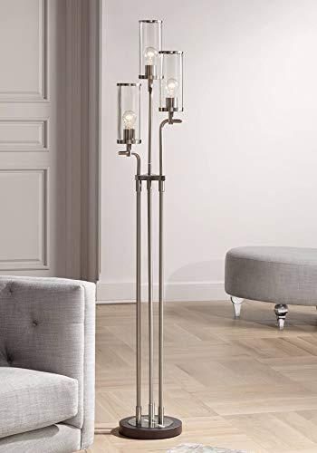 Revely Modern Floor Lamp 3-Light Brushed Nickel and Gunmetal Clear Glass Shades for Living Room Bedroom Uplight - Possini Euro Design