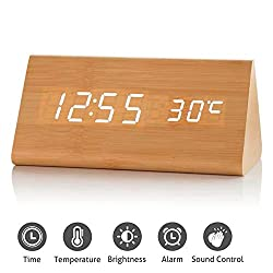 GLOREEY Wooden Wood Clock, 2019 New Version LED Alarm Digital Desk Clock 3 Levels Adjustable Brightness, 3 Groups of Alarm Time, Displays Time Date Temperature - Bamboo (White Light)