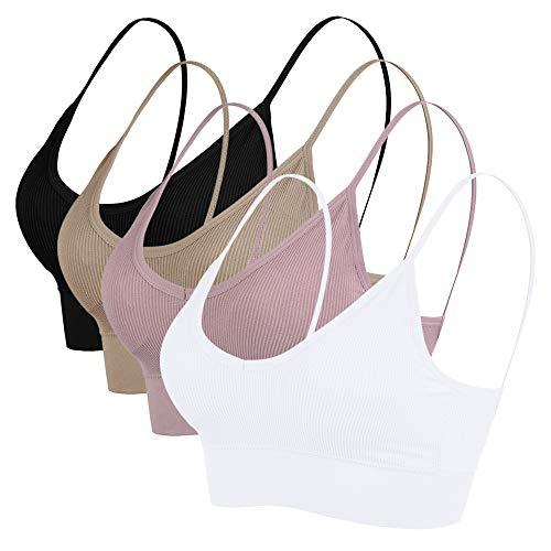 Vertvie Damen Sport BH Bustier Stretch ohne Bügel Nahtlose Gepolsterte mit Spaghetti Bra Sensual BH Top 1/3/4er Pack(Schwarz+Weiß+Khaki+Pink lila, EU M/Tag L)