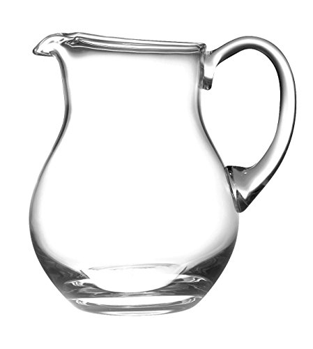 Glass Water Pitcher with handle, With Spout , Round, Ice Lip, Handmade 64 oz. by Barski Made in Europe