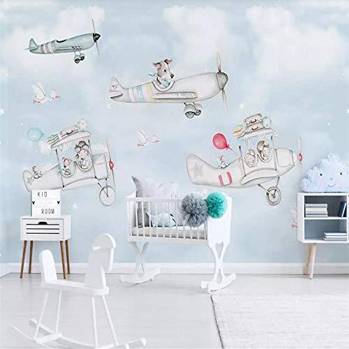 Fotobehang Muur Muralscartoon Dierlijk Vliegtuig Kinderkamer Achtergrond Muur Professionele Maken Muur, Behang Groothandel, Aangepaste Poster Fotowand About 350*245cm 3 stripes
