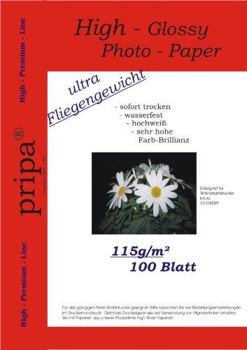 pripa 100 Blatt Fotopapier DIN A4, 115g/qm, extra leicht leicht - dünn, Glossy glaenzend -sofort trocken -wasserfest-hochweiß-sehr hohe Farbbrillianz, Fuer Inkjet Tinten Drucker