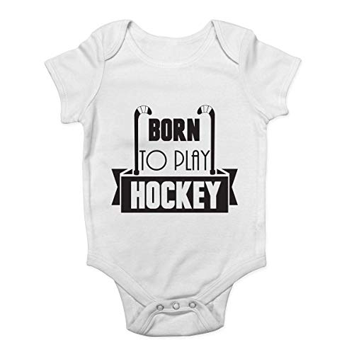 """Promini Baby-Strampler mit Aufschrift """"Born to Play Hockey"""" Gr. 74, weiß"""