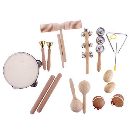 Set de 10 Piezas Juguete de Instrumentos de Percusión Ritmo Handbell de Marioneta Campana de Pandereta para Bebé