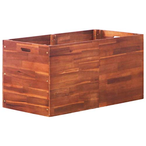 WWZH Wooden Raised Planter Box Elevated Outdoor Patio Cedar Garden Bed Kit to Grow Herbs and Vegetables 39.4 x19.7 x19.7 inch