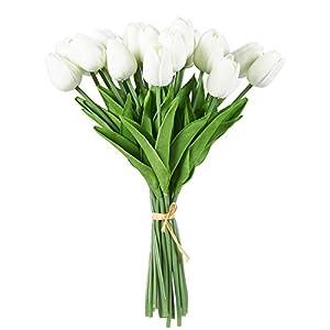 Flores artificiales – Ramo de tulipanes de flores de seda, flores artificiales para boda, fiesta, día de San Valentín…