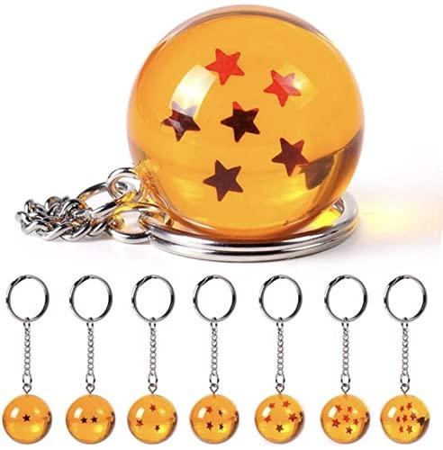 Juego de 7 llaveros de acrílico con bolas de estrella de 2,7 cm, bola de juego de 7 estrellas, llavero de anime, coleccionables, regalo para niños