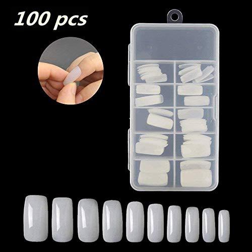 Falsche Nägel,Klassische Natürlich False Nägel Tipps,Translucent Full Cover False Nail DIY UV Gel Acryl False Nail Art Tipps (100 Stück-10 Größen)