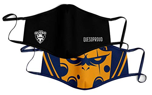 Team Queso Logo Pack 2 Mascarillas, Negro/Azul, Talla única Unisex Adulto