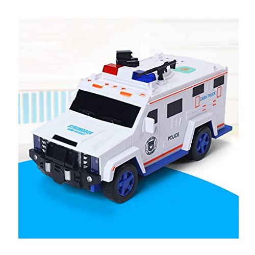 OUMIFA Hucha Hummer Police Car Piggy Bank Toy Car Password Piggy Bank Can Put Nursery Rhymes Boy and Girl Regalos Día de los niños Regalos Banco de Monedas Digital (Color : White)