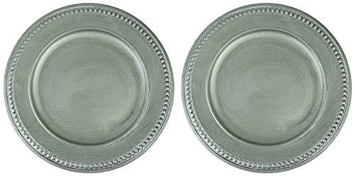 Novaliv 6X Dekoteller Silber 33 cm Weihnachtsteller Platzteller Unterteller Servierteller Kerzenteller Dekoplatte 36cm