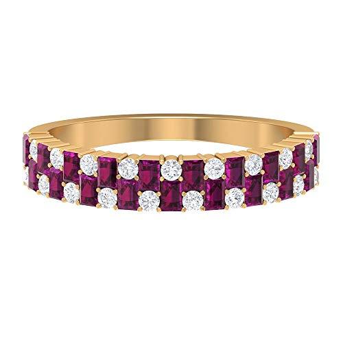 June Piedra de nacimiento — 2,20 x 1,5 mm Anillo de rodolita en forma de baguette, anillo de diamante HI-SI, anillo de compromiso de oro (calidad AAA), 14K Oro amarillo, Size:EU 49