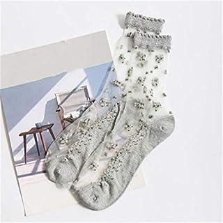 Calcetín de algodón para Mujer 1 par de Calcetines Finos y Transpirables de Verano para Mujer, Encaje Transparente, Flor Rosa, Calcetines Cortos elásticos para Mujer