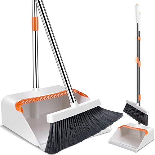 Broom and Dustpan Set, Dust Pan Broom Combo, Household Sweeping Long Handle Broom with Upright Standing Dustpans for Office Home Kitchen Lobby Floor Use-Orange+White