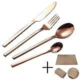 Set de Cubiertos de 24 Piezas, Juego de Cubiertos de Tenedor y Cuchara de Acero Inoxidable para Hotel/Oficina/Fiesta, Servicio para 6-Oro Rosa