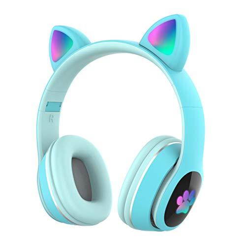HUJIN Auriculares Inalámbricos Luminosos con Oreja de Gato L400 Auriculares Bluetooth Estéreo con Micrófono Auriculares Bonitos para Niños Y Niñas