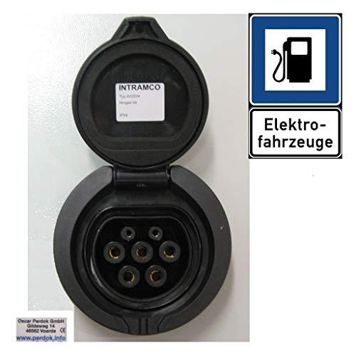 ecoLOAD Presa elettrica per stazione di ricarica Wallbox tipo 2 32 A, coperchio ribaltabile, ecc