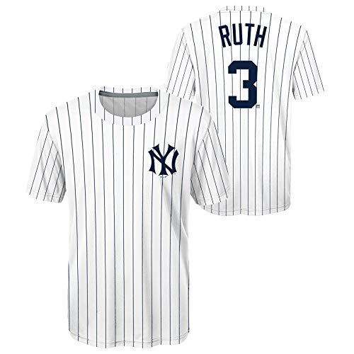 Babe Ruth New York Yankees Youth Sublimated White MLB Jersey T-Shirt Youth Sizing (Youth X-Large)