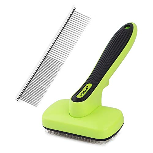 Dog Brush Dog Grooming Brush Self Cleaning Slicker Brush and A Metal Comb - Professional Pet Grooming Brush for Small, Medium & Large Dogs, Cats and...