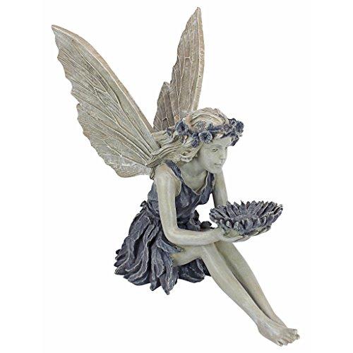 Design Toscano La fatina dei girasoli Mangiatoia per uccelli statua giardino, poliresina, pietra bicolore, 51 cm