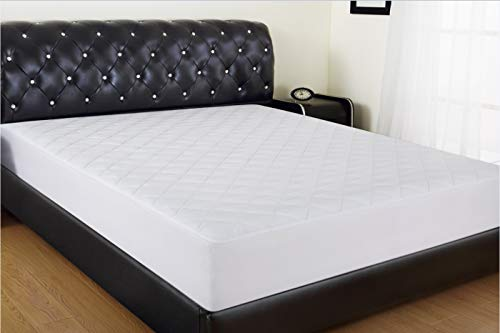 """Allrange Breathable Coolmax Quilted Mattress Pad, Coolmax and Cotton Fabric Cover, Snug Fit Stretchy to 18"""" Deep Pocket, Polyester Fill, Mattress Protector, Queen"""