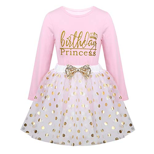 vastwit Toddlers Girls 2PCS Sequin Polka Dots Birthday Outfits Racer-Back Shirt with Fancy Mesh Tutu Skirt Set