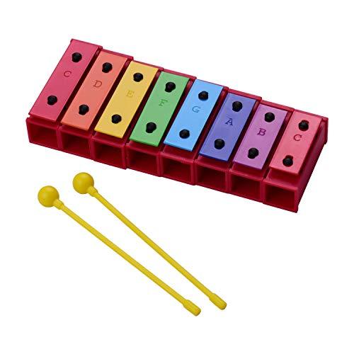 Montloxs 8-Note Buntes Xylophon Glockenspiel Percussion Musikinstrument Spielzeuggeschenk für Kinder Kinder mit Kunststoffschlägern Aufbewahrungsbox