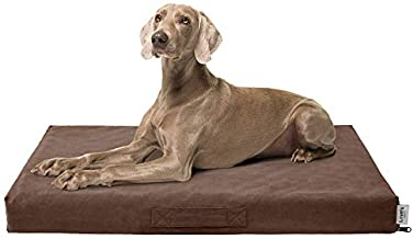 Love's cabin Large Dog Bed for Small, Medium and Large Dogs, Orthopedic Dog Bed for Crate with Removable Washable Cover, Outdoor Memory Foam Dog Bed Waterproof Pet Mat Brwon