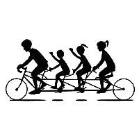 車のステッカーの装飾 18.2CM * 8.7CMアメージングサイクリング四人自転車おかしいシャドウバイクVinlyデカールデコレーションカーステッカーブラック/シルバー (Color Name : Black)