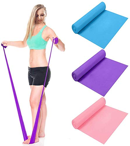 CREATESTAR Bande Elastiche Fitness 3 Pezzi - 2M Fascia Elastica Esercizi con 3 Livelli di Resistenza, Fascia di Allenamento Elastica per Uomo e Donna, perfette per Pilates, Yoga, Riabilitazione