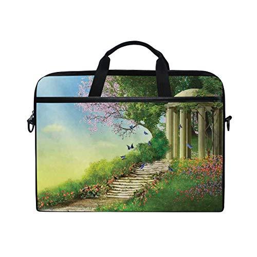 VICAFUCI New 15-15.4 Zoll Laptop Tasche,Umhängetasche,Handtasche,Gazebo an der Spitze des Hügels mit Steintreppen und magischem mittelalterlichem Land der Blumen