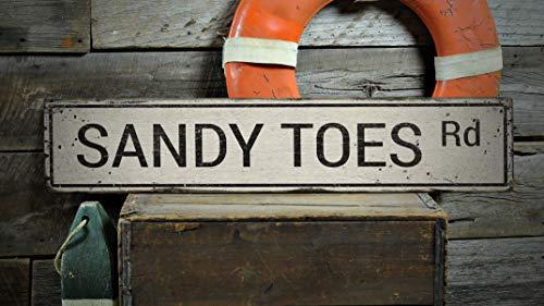 St234tyet Sandy Toes Sign, Sandy Toes Decor, Sandy Toes, Sandy Toes, regalo de playa, decoración costera, regalo rústico de madera