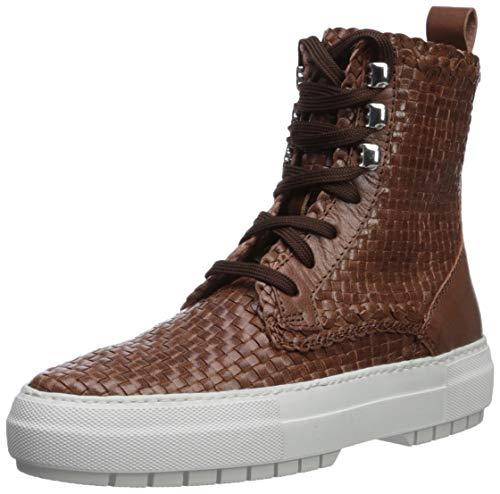Aquatalia Women's TESS Woven Leather Sneaker, Cognac, 9 M US