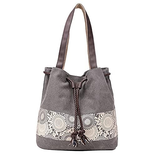 DIRRONA Damen Canvas Handtasche Canvas Schultertasche Beiläufig Hobo Tasche Eleganter Druck Tragetasche Kordelzug Design Strandtasche