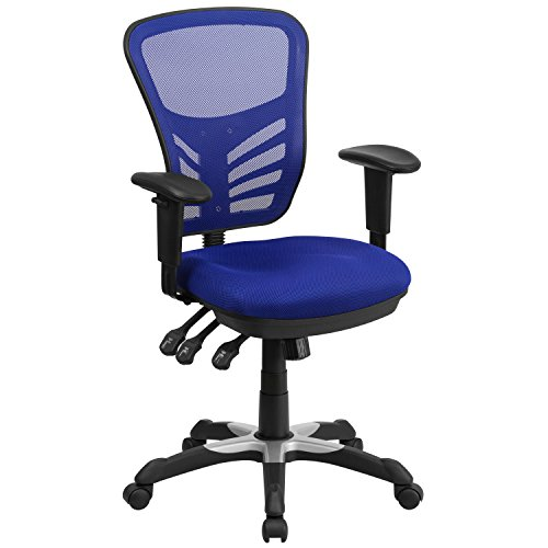 Flash Furniture Mid-Back Blue Mesh Multifunction Executive Swivel Ergonomic Office Chair with Adjustable Arms, BIFMA Certified blue chair gaming