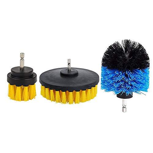 YELLAYBY HSS 3pcs 2/3,5/4 Pulgadas Taladro eléctrico del Cepillo de lechada for Azulejos de energía depurador de hidromasaje Cepillo de Limpieza Amarillo Azul Rojo-Amarillo Madera en plástico y al