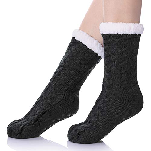 SDBING Women's Winter Super Soft Warm Cozy Fuzzy Fleece-lined Christmas Gift With Grippers Slipper Socks (Gray B)