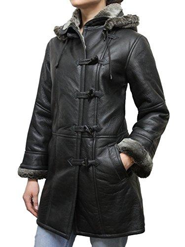 BRANDSLOCK - Abrigo de Piel de Oveja para Mujer con Capucha Desmontable Negro Negro (52