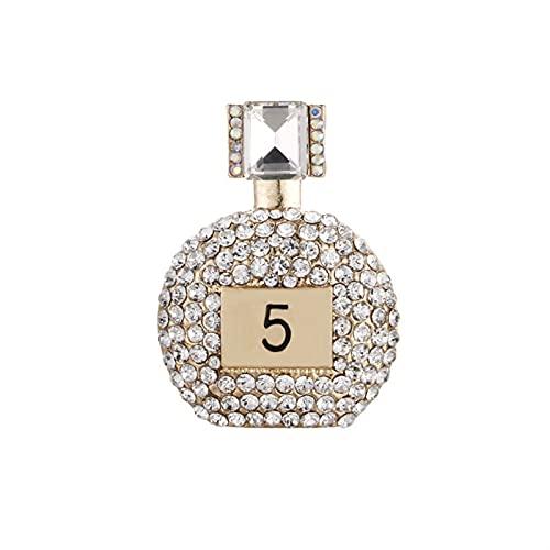 JIEERCUN Rhinestone Letra Broche Perfume Fiesta de Botella Boda Mujer Foco Broche Broche (Color : White)