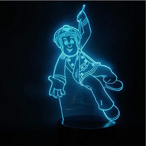 Anime Fireman Sam Action Figuur, werkt op batterijen, LED-nachtlampje, decoratie